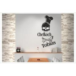 Chefkoch Totenkopf + Wunschname Wandaufkleber Wandtattoo Aufkleber Küche Essen Genießen Kochen