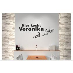 KOCH + Wunschname Kocht mit Liebe Wandaufkleber Wandtattoo Aufkleber Küche Essen Genießen Kochen