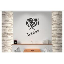 Koch Chef + Wunschname CHEFKOCH Kochmütze Wandaufkleber Wandtattoo Aufkleber Küche Essen Genießen Kochen