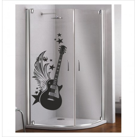 Glas Dekor Aufkleber Hard Rock Gitarre 46