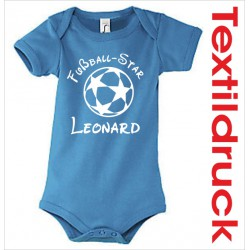 Babybody Body Spruch Text + Wunschname Fußball Star