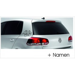 Wunschname Name  Sterne Aufkleber Tattoo Auto Car Style Tuning Heckscheibe Lack & Glas