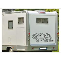 Aufkleber Wohnmobil Wohnwagen Dekor Gecko Keep Cool 2