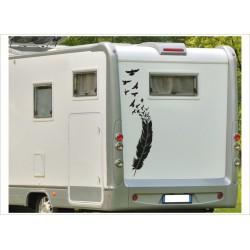 Aufkleber Wohnmobil Wohnwagen Dekor Vogel Feder 17