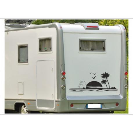 Aufkleber Wohnmobil Wohnwagen Dekor Palme Delphin 19