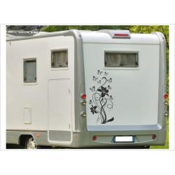 Aufkleber Wohnmobil Wohnwagen Dekor Blume Schmetterling 27
