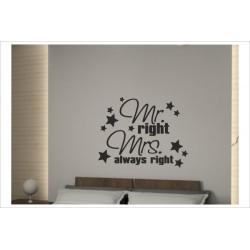 Wandtattoo Schlafzimmer Mr. Right & Mrs. always Right Tattoo Aufkleber Wand  - Der Dekor Aufkleber Shop