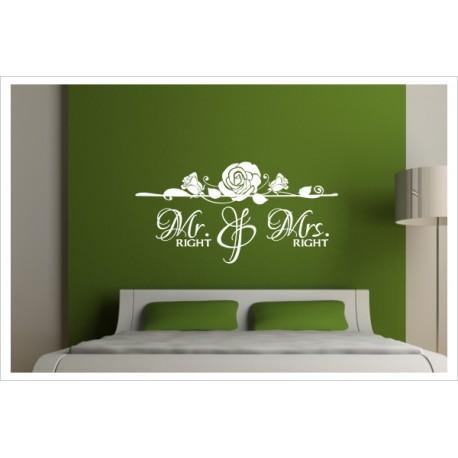 Wandtattoo Schlafzimmer Mr & Mr Right Mann & Frau Tattoo Aufkleber ...