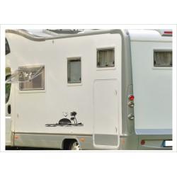 Wohnmobil Wohnwagen Caravan Camper Sonne Palme Möve 75  Aufkleber-SET