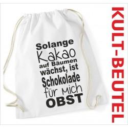 Turnbeutel Rucksack KULT Kinder Gym Sport Tasche Spruch Schokolade