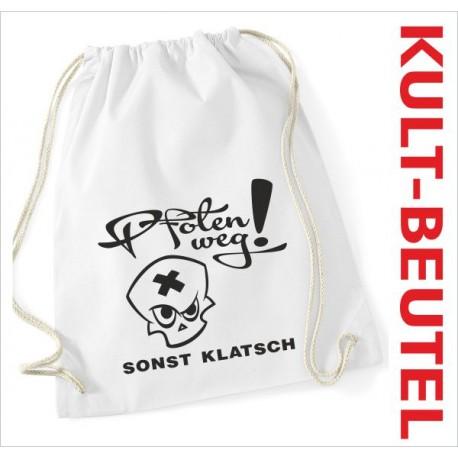 Turnbeutel Rucksack KULT Kinder Gym Sport Tasche Spruch Totenkopf Pfoten WEG!