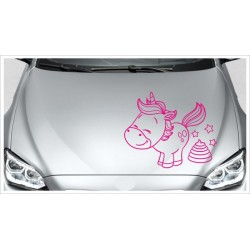 Einhorn Power Aufkleber Motorhaube Unicorn Star