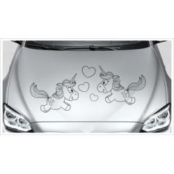 Einhorn Power Paar Liebe Love Aufkleber Motorhaube Unicorn Star