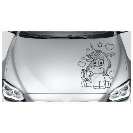 Einhorn Power Pups Aufkleber Motorhaube Unicorn Star Prinzessin Herz