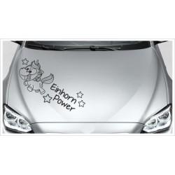 Einhorn Power Aufkleber Motorhaube Unicorn Star Pups Sterne