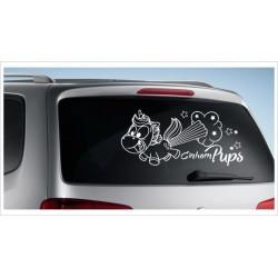 Einhorn Pony Pferd Power Pups Aufkleber Auto Lack/Glas Unicorn