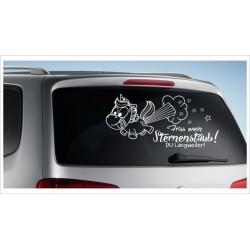 Einhorn Pony Pferd Power Pups Aufkleber Auto Lack/Glas Unicorn Friss mein Sternenstaub