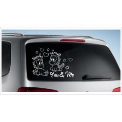 Einhorn Pony Pferd Power Pups Aufkleber Auto Lack/Glas Unicorn Paar Wolke Love Liebe