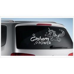 Einhorn Pony Pferd Power Pups Aufkleber Auto Lack/Glas Unicorn Sternenstaub Herz