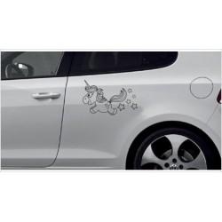 Einhorn Pony Pferd Power Pups Aufkleber SET Auto Lack/Glas Unicorn Herz