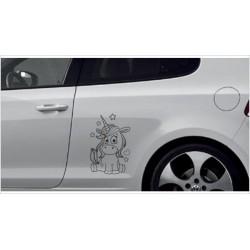 Einhorn Pony Pferd Power Pups Aufkleber SET Auto Lack/Glas Unicorn Sternenstaub