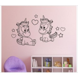 Einhorn Wandaufkleber Wandtattoo Aufkleber Einhorn Paar Ehe Love Power Pups Wow Pony Pferd