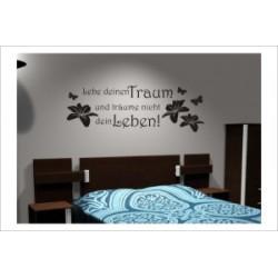 Lebe deinen Traum Zitat Dekor Schmetterlinge Blüten Wandaufkleber ...