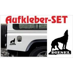 Offroad Motive Aufkleber SET 4x4 Safari Gelände Land Wolf Diesel