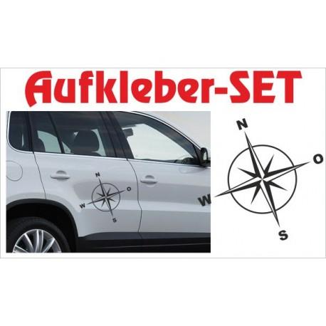 Offroad Motive Aufkleber SET 4x4 Safari Gelände Land Windrose Kompass