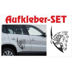 Offroad Motive Aufkleber SET 4x4 Safari Gelände Land Vogel Adler Tattoo Tribal