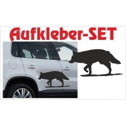 Offroad Motive Aufkleber SET 4x4 Safari Gelände Land Wolf Hund