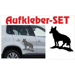 Offroad Motive Aufkleber SET 4x4 Safari Gelände heulender Wolf Hund