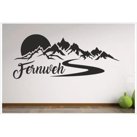 Wohnzimmer Alpen Berge Allgäu FERNWEH Aufkleber Dekor Wandtattoo Wandaufkleber