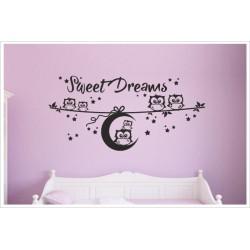Kinder Wandaufkleber Wandtattoo Aufkleber Sweet Dreams süße Träume Mond Uhu Eule Comic