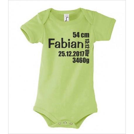 Babybody bedruckt Body Strampler Wunschname Name, Datum, Gewicht, Größe und Uhrzeit Geburt Geschenk Textildruck