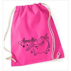 Turnbeutel Rucksack bedruckt mit Einhorn Pony + Wunschname Name KULT Kinder Sport Tasche Schule Freizeit