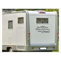 """Wohnmobil Aufkleber """"Reise vor dem Sterben"""" Spruch Wohnwagen Caravan Camper WOMA"""