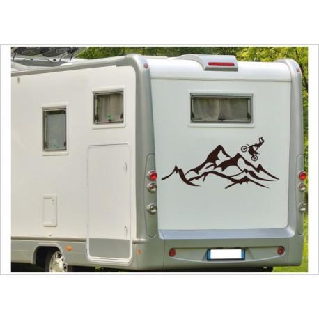 Wohnmobil Aufkleber Berge Motorrad Motorcross Bike Alpen Landschaft  Wohnwagen Caravan Camper WOMA