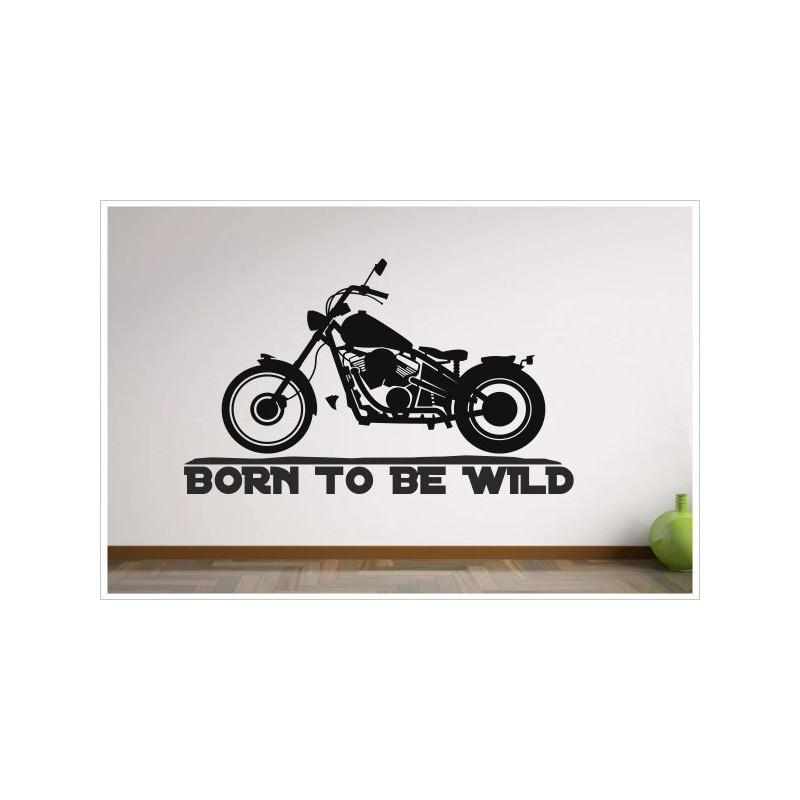 wohnzimmer born to be wild motorrad chopper bike aufkleber dekor wandtattoo wandaufkleber der. Black Bedroom Furniture Sets. Home Design Ideas