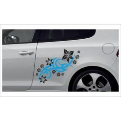 Car Style Tattoo Tribal Auto Aufkleber SET 2 farbig Blumen Dekor Seitenaufkleber Autobeschriftung Seitendekor