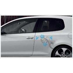 Car Style Tattoo Tribal Auto Aufkleber SET 2 farbig Blumen Schmetterling Blüten Dekor Seitenaufkleber Seitendekor