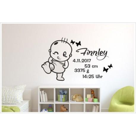 Baby Wandaufkleber Wunschname Name Gr E Gewicht Datum