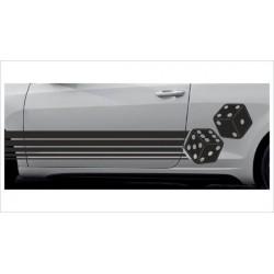 2x Dekorstreifen Seitenaufkleber Rennstreifen Viper Race Tuning Aufkleber Würfel