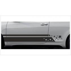 2x Dekorstreifen Seitenaufkleber Rennstreifen Viper Race Sterne  Tuning Aufkleber Auto