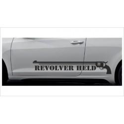 2x Dekorstreifen Seitenaufkleber Rennstreifen Viper Race Revolver Held Tuning Aufkleber Auto