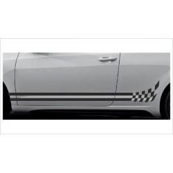 2x Dekorstreifen Seitenaufkleber Rennstreifen Viper Race Racing Flags Sterne Tuning Aufkleber Auto