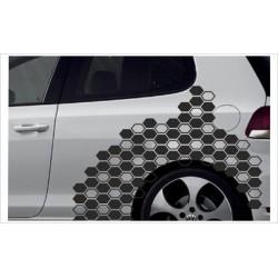 Camouflage Auto Aufkleber Set Cyber Pixel Tattoo Sticker Tuning Waben