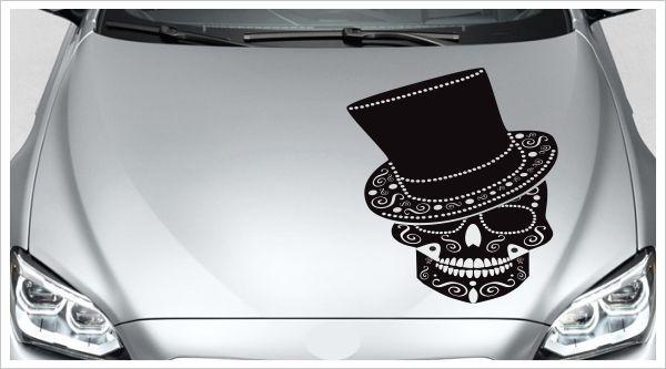 Motorhauben Auto Aufkleber Totenkopf Tattoo Sugar Skull Mexican Zylinder Hut Herz Bones Der Dekor Aufkleber Shop