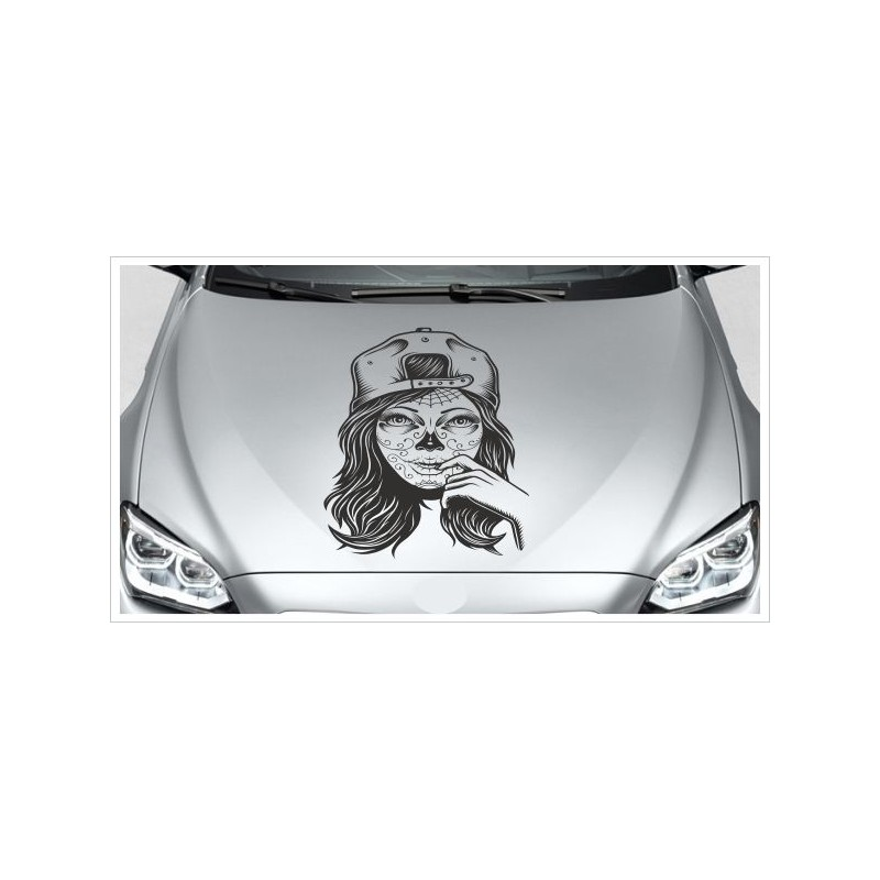 Motorhauben Auto Aufkleber Totenkopf Tattoo Sugar Skull Catrina Mexican Lady Frau Der Dekor Aufkleber Shop