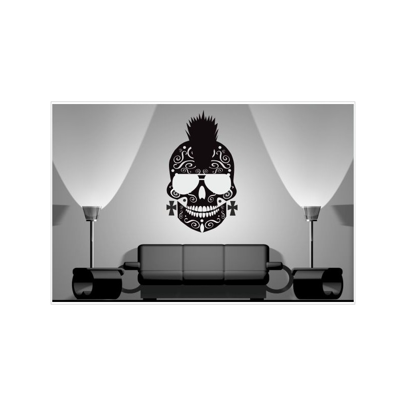 Wohnzimmer Mexican Sugar Skull Hipster Punk Rock Totenkopf Aufkleber Dekor  Wandtattoo Wandaufkleber. Loading Zoom